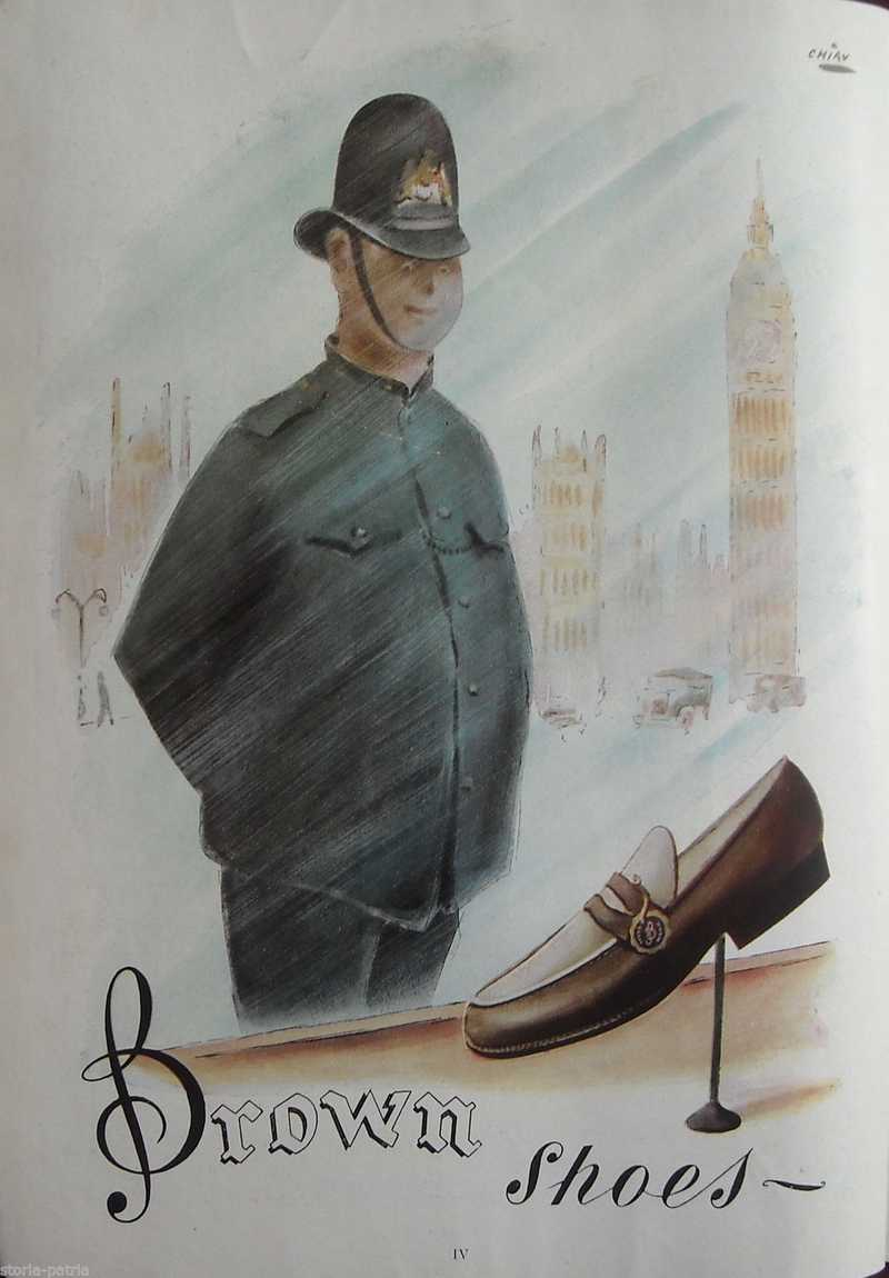 Calzature, Scarpe, Brown Shoes, New York, Grattacieli, Poliziotto, Bella Grafica, 1947 thumb